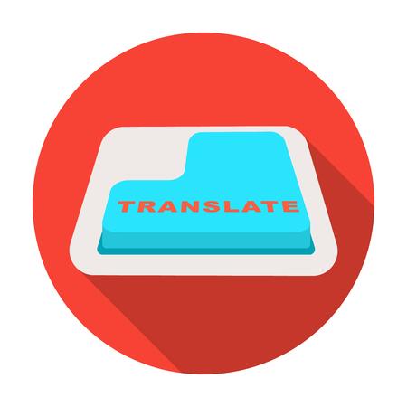 Tradurre icona del pulsante in stile piano isolato su priorità bassa bianca. Interprete e traduttore simbolo illustrazione vettoriali stock