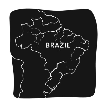 Territory of Brazil icon in black style isolated on white background. Brazil country symbol stock vector illustration. Illustration