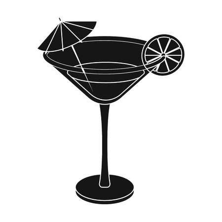 Lemon cocktail icon in black style isolated on white background. Brazil country symbol stock vector illustration.