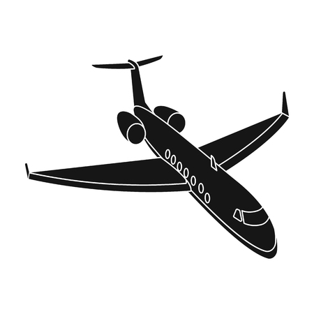 jorney: Airplane icon in black style isolated on white background. Rest and travel symbol stock vector illustration. Illustration