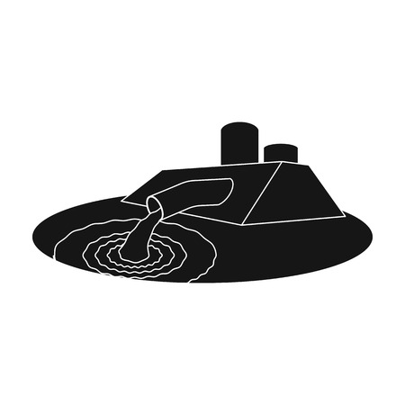 sewage treatment plant: Water treatment plant icon in black style isolated on white background. Water filtration system symbol stock vector illustration. Illustration