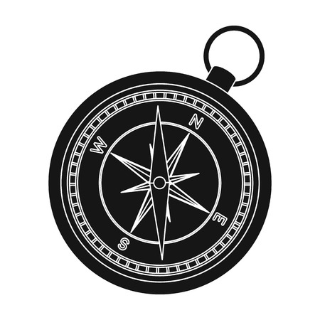 jorney: Compass icon in black style isolated on white background. Rest and travel symbol stock vector illustration. Illustration