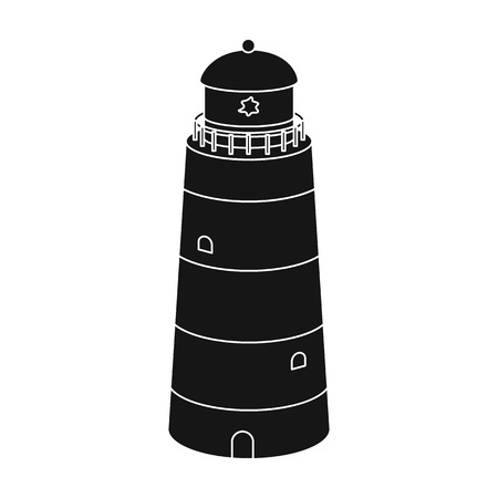 jorney: Lighthouse icon in black style isolated on white background. Rest and travel symbol stock vector illustration.