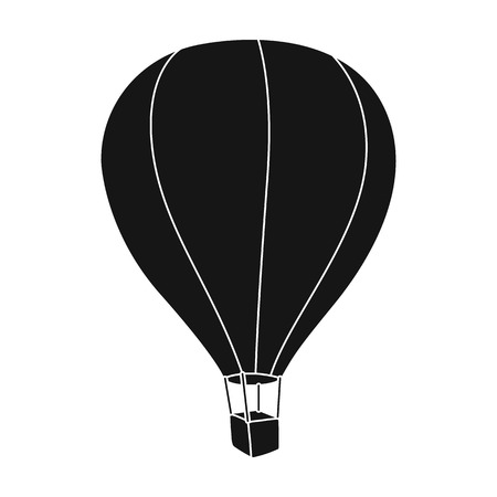 jorney: Airballoon icon in black style isolated on white background. Rest and travel symbol stock vector illustration.