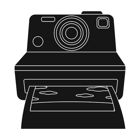 Retro photocamera icon in black style isolated on white background. Hipster style symbol stock vector illustration.
