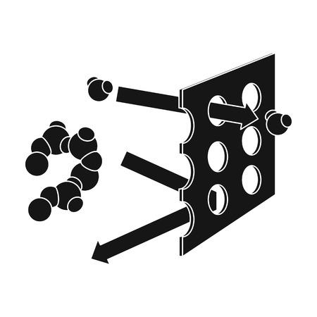 filtración: icono de filtración de agua en el estilo de negro sobre fondo blanco. Filtración ilustración símbolo de sistema de la serie de vectores. Vectores