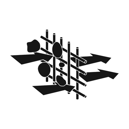 filtración: La filtración del agua a través del filtro carbónico icono de estilo negro sobre fondo blanco. Filtración ilustración símbolo de sistema de la serie de vectores.