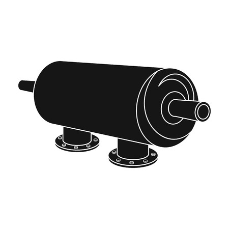 filtración: Water filter machine icon in black style isolated on white background. Water filtration system symbol stock vector illustration.