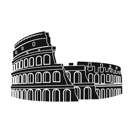 flavian: Colosseum in Italy icon in black style isolated on white background. Countries symbol stock vector illustration. Illustration