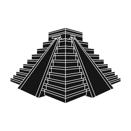 ancient civilization: Chichen Itza icon in black style isolated on white background. Countries symbol stock vector illustration.