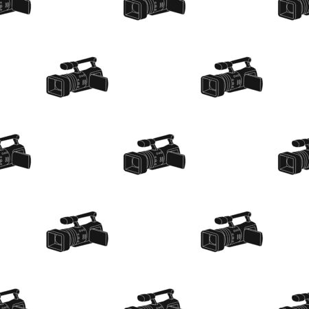 Camcorder icon in black style isolated on white background. Event service pattern stock vector illustration. Vektorové ilustrace