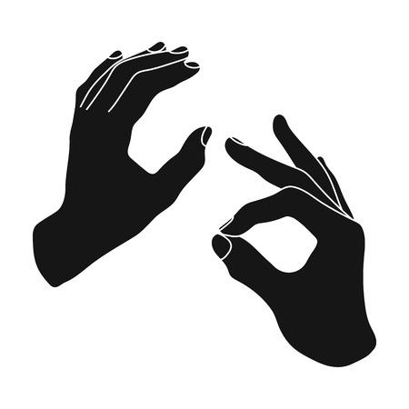 Sign language icon in black style isolated on white background. Interpreter and translator symbol stock vector illustration. Illustration