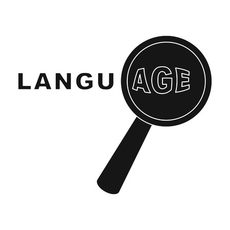 interpreter: Learning foreign language icon in black style isolated on white background. Interpreter and translator symbol stock vector illustration. Illustration