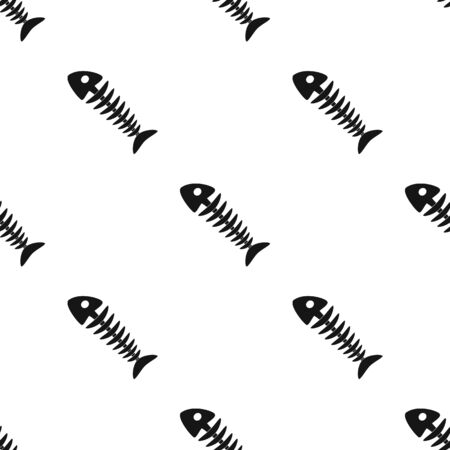 Fish skeleton icon in black style isolated on white background. Trash and garbage pattern stock vector illustration.