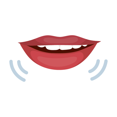 Speaking mouth icon in cartoon style isolated on white background. Interpreter and translator symbol stock vector illustration.