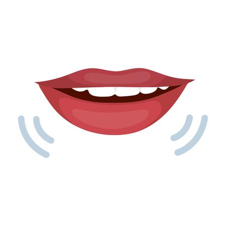 Sprekende mond pictogram in cartoon stijl geïsoleerd op een witte achtergrond. Tolk en vertaler symbool voorraad vectorillustratie Stock Illustratie