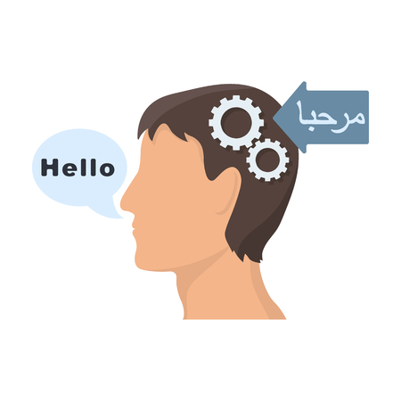 Understanding of foreign language icon in cartoon style isolated on white background. Interpreter and translator symbol stock vector illustration.