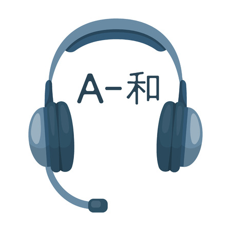 Headphones with translator icon in cartoon style isolated on white background. Interpreter and translator symbol stock vector illustration. Illustration