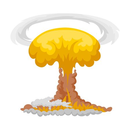 vector nuclear: Nuclear explosion icon in cartoon style isolated on white background. Explosions symbol stock vector illustration.