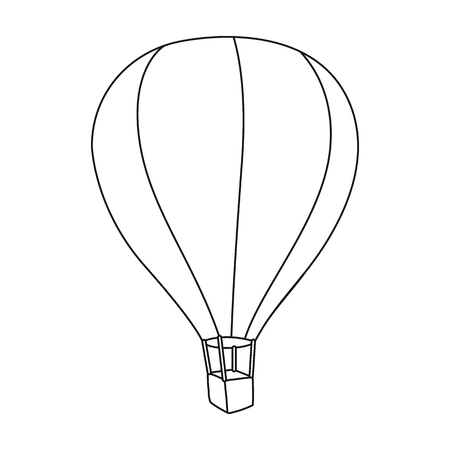 fly around: Airballoon icon in outline style isolated on white background. Rest and travel symbol stock vector illustration.