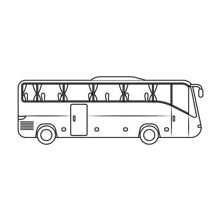 jorney: Green tour bus icon in outline style isolated on white background. Rest and travel symbol stock vector illustration.