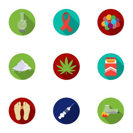 Drugs set icons in flat style. Big collection of drugs vector symbol stock illustration