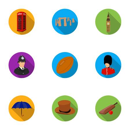 top gun: England country set icons in flat style. Big collection of England country vector symbol stock illustration