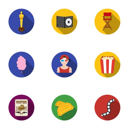 dvd: Films and cinema set icons in flat style. Big collection of films and cinema vector symbol stock illustration Illustration