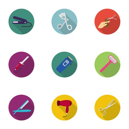 Hairdresser set icons in flat style. Big collection of hairdresser vector symbol stock illustration