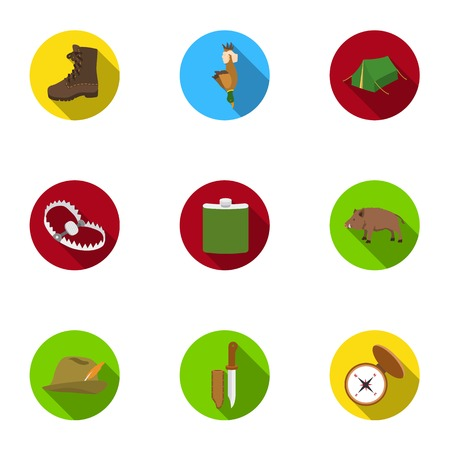 Hunting set icons in flat style. Big collection of hunting vector symbol stock illustration