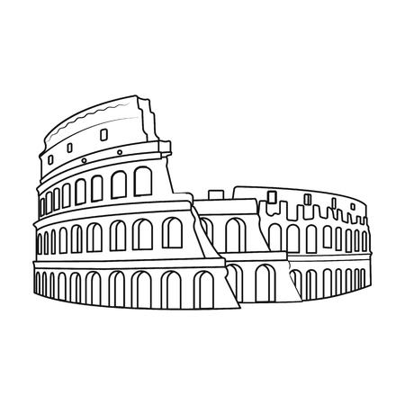 白い背景で隔離のアウトライン スタイルのイタリアのアイコンにコロッセオ。国のシンボル株式ベクトル図です。
