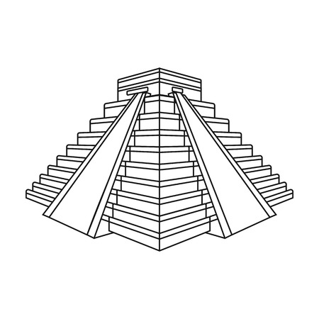 Chichen Itza icon in outline style isolated on white background. Countries symbol stock vector illustration.