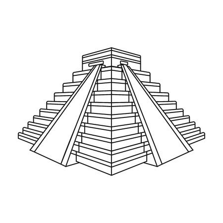 Icono de Chichen Itza en el estilo de contorno aislado sobre fondo blanco. Ilustración de vector stock de símbolo de países. Ilustración de vector