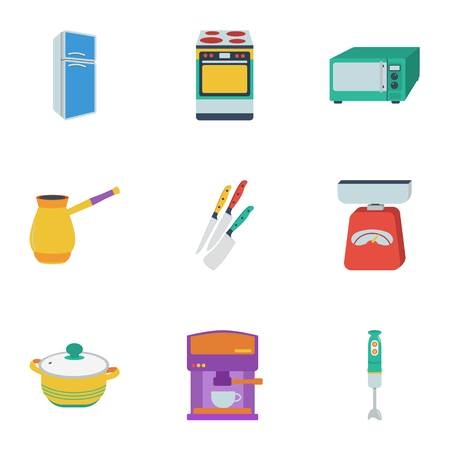 stockpot: Kitchen set icons in flat style. Big collection of kitchen vector symbol stock illustration