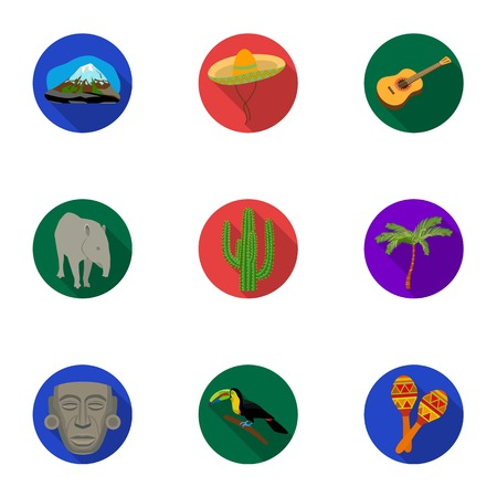 Mexico country set icons in flat style. Big collection of Mexico country vector symbol stock illustration