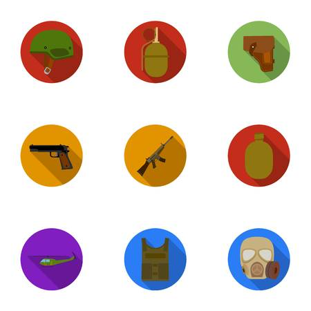vehicle combat: Military and army set icons in flat style. Big collection of military and army vector symbol stock illustration