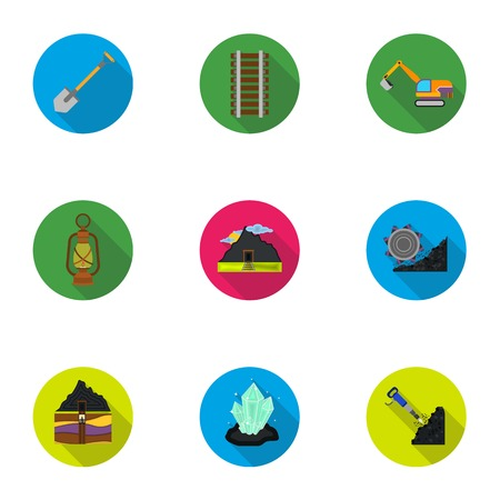Mine set icons in flat style. Big collection of mine vector symbol stock illustration Illustration