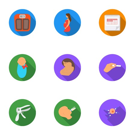 fertilization: Pregnancy set icons in flat style. Big collection of pregnancy vector symbol stock illustration