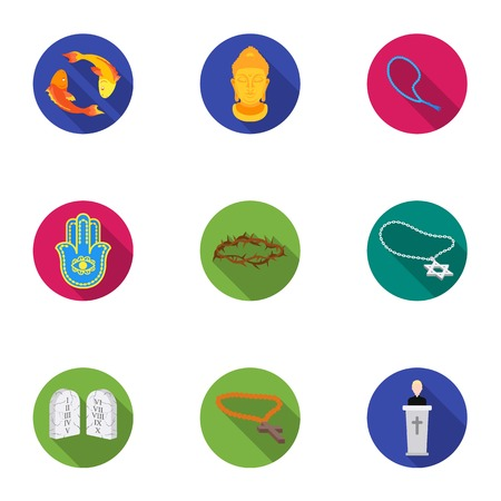 niqab: Religion set icons in flat style. Big collection of religion vector symbol stock illustration