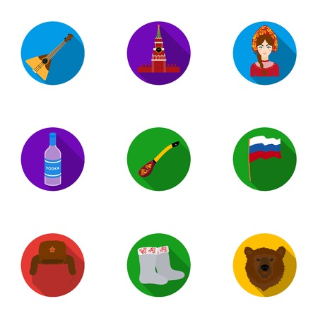 Russia country set icons in flat style. Big collection of Russia country vector symbol stock illustration