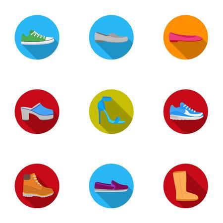 Zapatos set iconos en estilo plano. Gran colección de zapatos stock vector símbolo stock ilustración Vectores