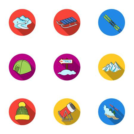 mountain pass: Ski resort set icons in flat style. Big collection of ski resort vector symbol stock illustration Illustration