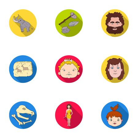bearskin: Stone age set icons in flat style. Big collection of stone age vector symbol stock illustration