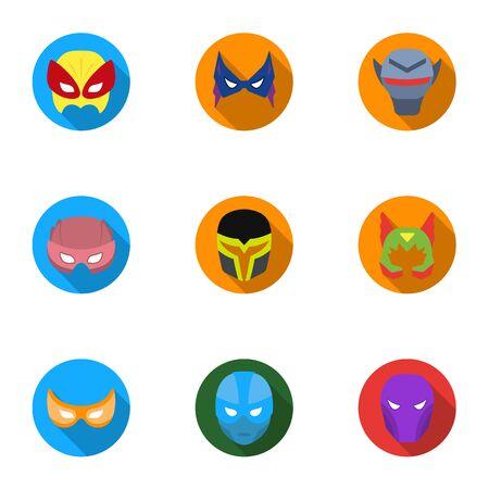 スーパー ヒーローのマスクは、フラット スタイルのアイコンを設定します。大きなスーパー ヒーロー マスク ベクトル シンボル ストック イラスト  イラスト・ベクター素材