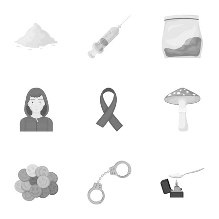 opium poppy: Drugs set icons in monochrome style. Big collection of drugs vector symbol stock illustration Illustration