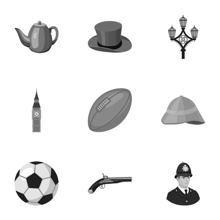 top gun: England country set icons in monochrome style. Big collection of England country vector symbol stock illustration