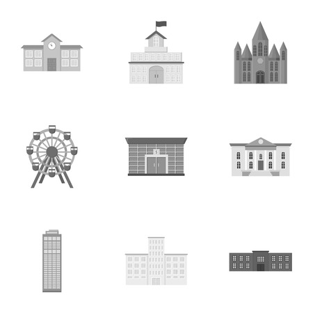 art museum: Building set icons in monochrome style. Big collection of building vector symbol stock illustration