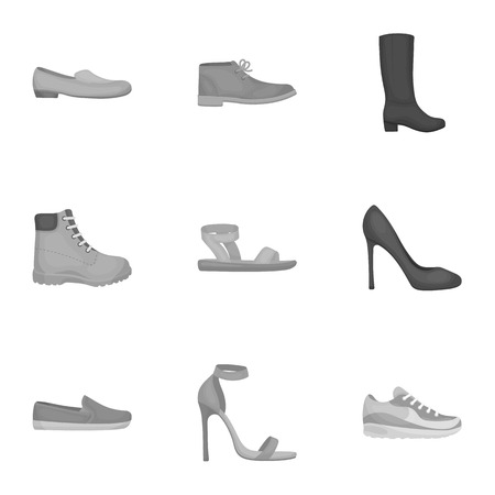 moccasin: Shoes set icons in monochrome style. Big collection of shoes vector symbol stock illustration