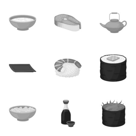 Sushi set icons in monochrome style. Big collection of sushi vector symbol stock illustration Illustration