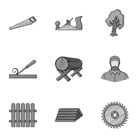tree log: Sawmil and timber set icons in monochrome style. Big collection of sawmill and timber vector symbol stock illustration Illustration